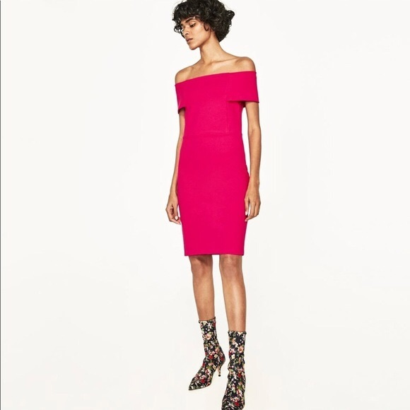 Zara Dresses & Skirts - Zara Hot Pink Off The Shoulder Bodycon Midi Dress